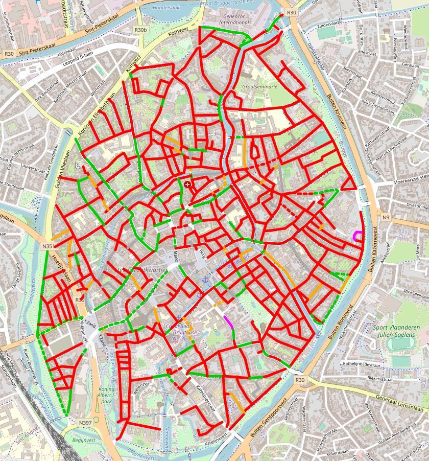 straat breedtes Brugge